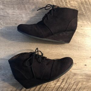 Shoes - Black Wedge Lace Up Suede Booties
